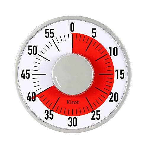 (Round Mechanical Countdown Classroom Teaching Visual Timer Kitchen timer With Magnet Alarm 60 Minutes Limit Counter For Cooking baking Kid Houseworks Sports Office Meeting)