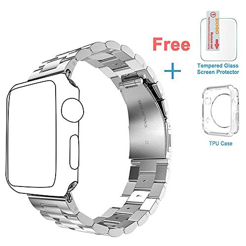 (Band for Apple Watch, Eoso Solid Stainless Steel Metal Apple Watch Strap with Durable Folding Clasp for iWatch(Stainless Steel Silver, 42mm))
