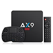 TICTID AX9 MAX Android TV BOX Con Wireless MINI TASTIERA, Android 7.1, 2GB/16GB, S905W Amlogic Quad Core A53 Processor 64 Bits, 2.4G WIFI, 100M LAN, 4k 2k, Smart TV Box