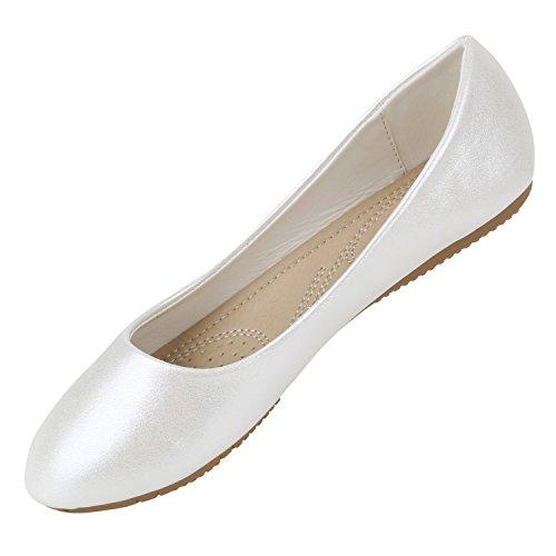 Stiefelparadies Klassische Damen Ballerinas Flats Leder-Optik Lack Metallic Schuhe Glitzer Slipper Slip Ons Übergrößen Abiball Flandell Weiss Metallic