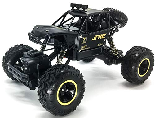 Wemor RC Car Newest 2.4GHz 4WD Rock Buggy Remote Control Car 1/16 Scale Off Road Vehicle with Two Rechargeable Batteries, Racing Truck for Adults and Kids (Black)