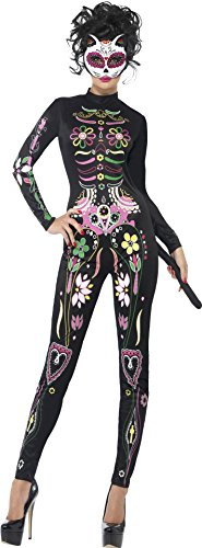 [Smiffy's Women's Sugar Skull Cat Costume, Printed Bodysuit, Day of the Dead, Halloween, Size 10-12,] (Alien Costume Woman)