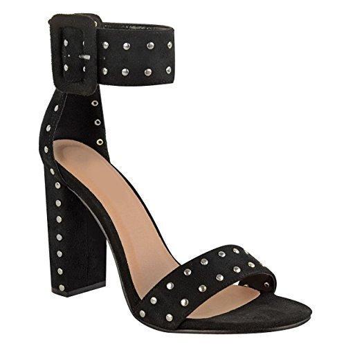 Synthétique massif Daim Noir ouvert émaillé femmes fête bout talon bride cheville Pointure Chaussures Sandales haut ouvert 6xwwEqpZ