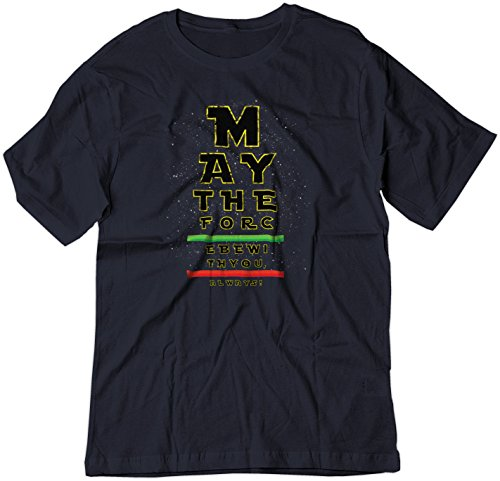BSW Youth May The Force be with You Eye Chart Star Wars Shirt SM Navy -