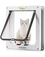 Ycozy Cat Doors 4-Way Locking Cat Flap Indoor Pet Door for Cats/Kitties/Kittens/Small Dogs Easy Install on Interior/Exterior Doors, Windows, Cupboards, Walls