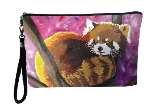 Large Vegan Wristlet Pencil Bag Cosmetic Bag With Charm Nylon Wristlet Clutch Bag