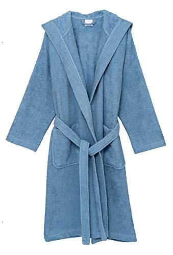 (TowelSelections Men's Hooded Robe, Cotton Terry Cloth Bathrobe Small Blue)