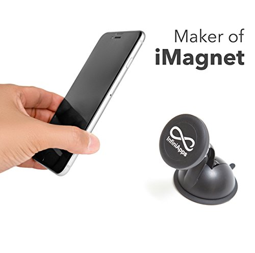 [Maker of iMagnet] The Original infiniapps Cradle-less Universal Car Phone Windshield Dashboard Mount Holder for iPhone X 8 7 Plus 6S 6 5s 5 SE, Galaxy S8 S7 S6 Edge, Note 8 5 4 2 and mini Tablets by InfiniApps