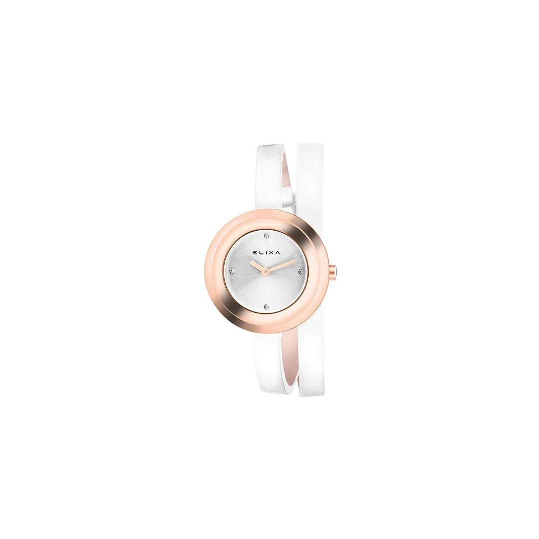 Uhr Elixa Damen Edelstahl IP Pink doppelt Gurt