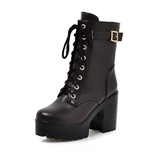 ZQ invierno Taiwán mujer cortas grueso con redonda Hebilla de correas botas tacón botas zapatos de cabeza QXEl de y Martin moda botas otoño impermeable Brown el rvxr8Iq