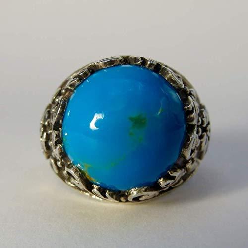 (Vintage Style Natural Persian Turquoise Ring | AlAliGems | S925 | Kermani Mountin | US Size 11)