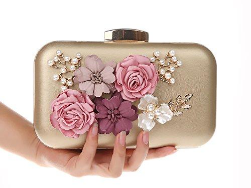 Longue Pochette Cadeau Mères Elégante Fête Fleurs avec Pochette Ankoee Chic Elégant Noël Or Soirée Chaine RAqHwH