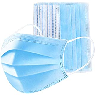 50 PCS 3-Ply Filter Disposable Face Masks, Anti-Spitting Facial Masks with Adjustable Earloop - Great for Mouth and Nose Protection Blue