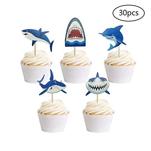 (30 PCS Baby Shark Cupcake Toppers Shark Theme Party Supplies Kids Birthday Party Supplies Decorations)
