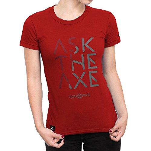 Camiseta Feminina God Of War Ask The Axe - Vermelho - Gg