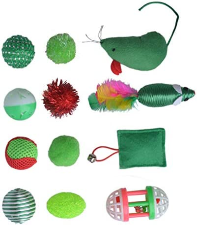 EXPAWLORER 12 PCS Christmas Cat Toys Green Package, Including Ball, Mouse, Bell 3