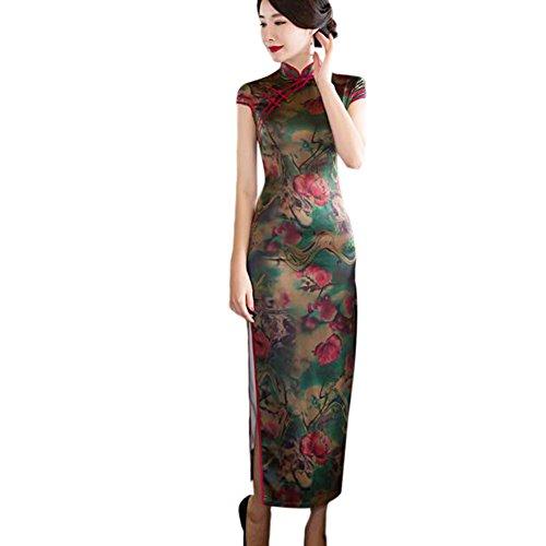Hzjundasi Cinese Stampato Qipao Donne sera Elegant Slim Vestito Robe 06 da Biancheria Cheongsam Lungo Floreale Seta rTnrvSU
