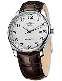 Men's Classic Automatic Mechanical Day Calendar Luxury Leather Band Watch