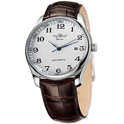 - VIGOROSO Men's Classic Automatic Mechanical Day Calendar Luxury Leather Band Watch