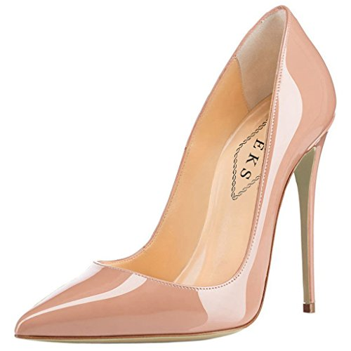 EKS Women's Pumps High Heels Sexy Pointy Toe Dress Party Court Shoes Nude-patent