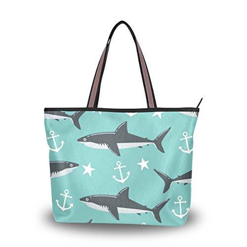 Large Beach Travel Tote Bag Shark Anchor Star Printed handbags with Handle Top Zipper Closure ()