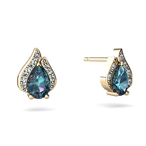 14kt Yellow Gold Lab Alexandrite and Diamond 6x4mm Pear Flame Earrings 14kt Gold 6 Diamond Earrings