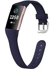 Ouwegaga Compatibel met Fitbit Charge 4 Bandje/Fitbit Charge 3 Bandje, Zachte Smalle Vervangende Sport Polsband voor Vrouwen Mannen, Klein Groot