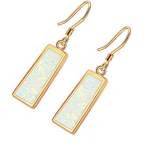 CiNily Drop Dangle Earring-White Opal Dangle Earrings Yellow Gold Plated Dangle Earrings Women Jewelry Gems Dangle Earrings