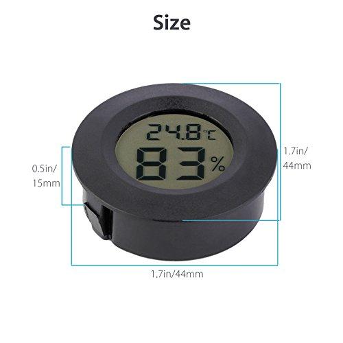 EEEkit Hygrometer Thermometer Digital LCD Monitor Indoor Outdoor Humidity Meter Gauge for Humidifiers Dehumidifiers Greenhouse Basement Babyroom, Black Round (5-pack) by EEEKit (Image #5)
