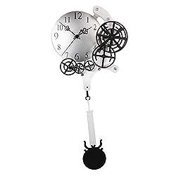 B Blesiya Heavy Duty Gear Design Wall Clock Decorative Quartz Pendulum Clock Home Bar Pub Decor - Silver