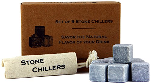 Set of 9 Soapstone Stone Chillers with Canvas Pouch for Whiskey, Scotch & Cocktails (9 Piece Set)