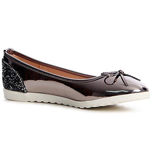 Ballerines Chaussures Gris Femmes 753 Topschuhe24 Argent qtUYw