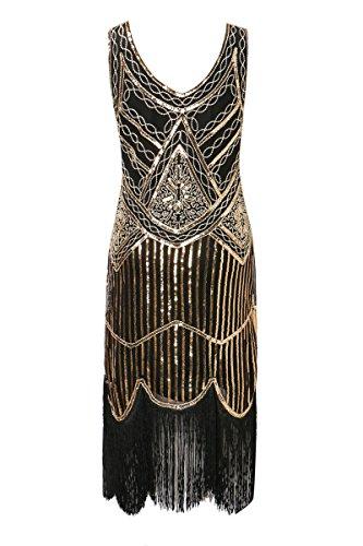 Zhisheng You 1920s Gastby V-Neck Sequined Embellished Fringed Vintage Hem Flapper Dress (XL, Black+Gold) -