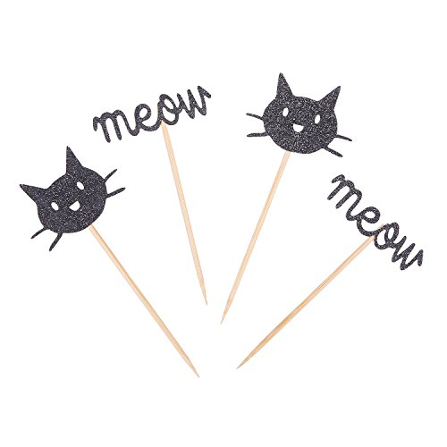 Set of 24 Black Kitten Cat Meow Cupcake Toppers Kids' Birthday Party -