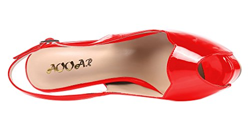 AOOAR Womens Slingback High Heels Party Pumps With Hidden Platform Red Patent IO4kG2c