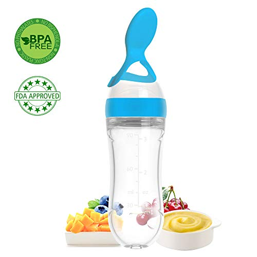 (Lyonice Silicone Squeeze Bottle Spoon - Baby Feeding Cereal, Rice, Juice, Infant Newborn Toddler Baby Food Dispensing Spoon- 90ml Blue)
