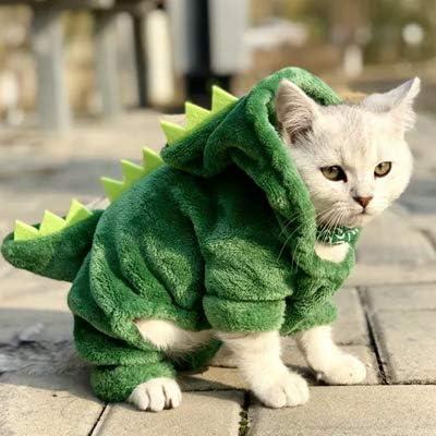 ペットの猫服おかしい恐竜衣装コート冬暖かいフリース猫の服小猫子猫パーカー子犬犬服 (XL, GRAY)