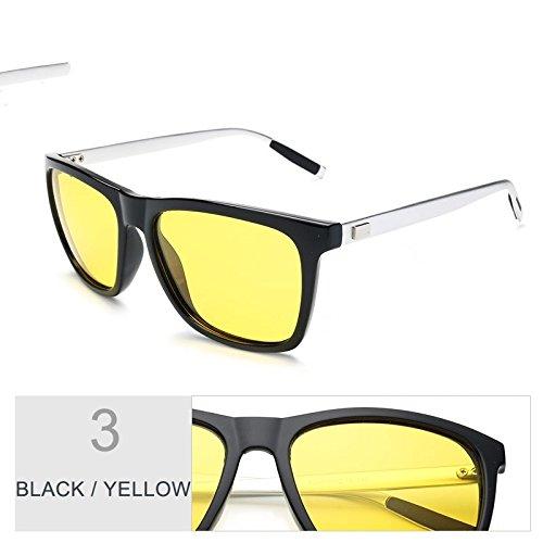 Sol Cuadrados Verdeoscuro Con De Gafas Polarizadas Guía De Negro De Hombres Black De Aluminio Gafas De Gafas De Yellow Protección La Nocturna TIANLIANG04 Sol Visión Uv400 Patas Envuelva qaw4nXWRqt