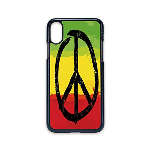 Phone Case Compatible with iPhone X 2D Print Black Edge,Rasta,Grunge Style Watercolor Design African Flag Colors Hippie Peace Sign Decorative,Black Green Yellow and Red,Hard Plastic Phone Case ()