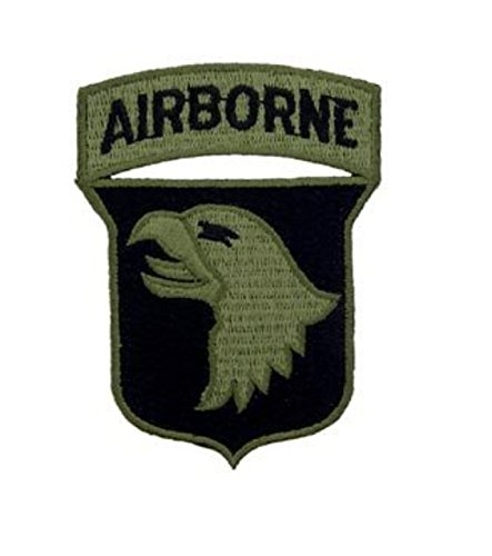 Army 101st Airborne Green Iron On Patch 3 1/2