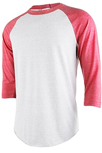 Fitted Baseball Tee (TL Men's Basic 3/4 Sleeve Baseball Top Fitted Tri-blend Raglan T-Shirt WHITE_RED M)