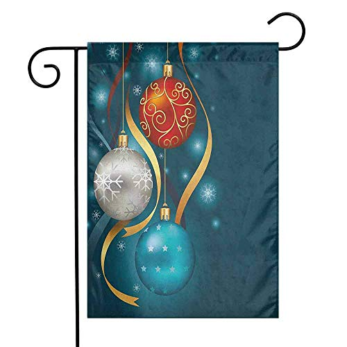 (duommhome Christmas Garden Flag Vivid Classical Baubles with Ribbons and Different Patterns Abstract Decorative Flags for Garden Yard Lawn W12 x L18 Petrol Blue Grey Red)