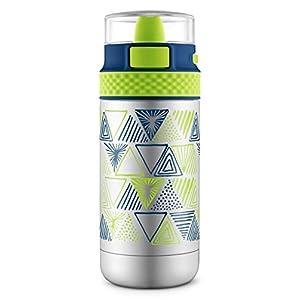 Ello Ride Stainless Steel Water Bottle, Navy/Green, 14 oz.