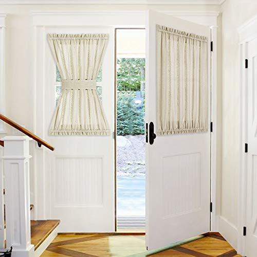 PONY DANCE French Door Curtain - 52 W x 40 L Soft Beige Sheer Front Door Window Blinds Set Rod Pocket Voile Drapes for Patio Glass Door with Bonus Tieback, Set of 1 (Door Drapes Front)
