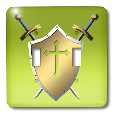 3dRose LLC lsp_40077_2 Golden Shield with Crossed Swords and The Christian Cross and Background In Earls Green Double Toggle Switch