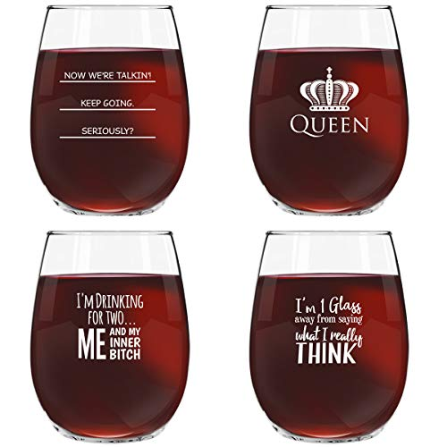 Funny Stemless Wine Glasses Set of 4 (15 oz)- Funny Novelty Wine Glassware Gift for Women- Party, Event, Hosting Fun- Wine Lover Wine Glass with Funny Sayings ()