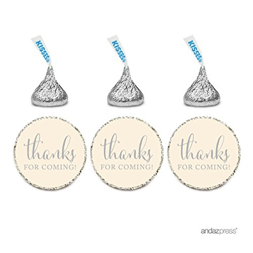 Andaz Press Chocolate Drop Labels Stickers, Thanks for Coming!, Ivory, 216-Pack, for Wedding Birthday Party Baby Bridal Shower Hershey's Kisses Party Favors Decor Envelope Seals