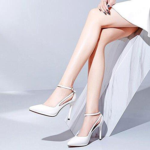 Taille Blanc Bouche couleur Eu36 Bouton Étiquette Boucle Peu Bien Blanc Profond Cuir Haute Un 5 Cjc uk3 Talon Pointu Chaussure f8wq6OfZn