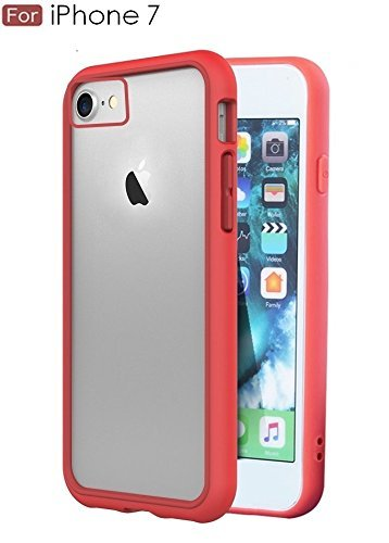 wow imagine premuim shock absorption crash guard bumper back case cover for apple iphone 8 / iphone 7  4.7 inch screen    [trans red]   Red