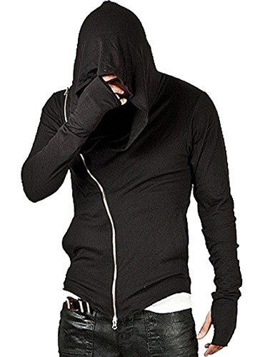 Aishang Men's Solid Sci-Fi Oblique Zipper Pocket Hooded Sweatshirt Grim Reaper -